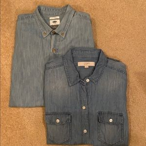 💥 TWO Chambray Classic Long Sleeve Slim Fit Shirt